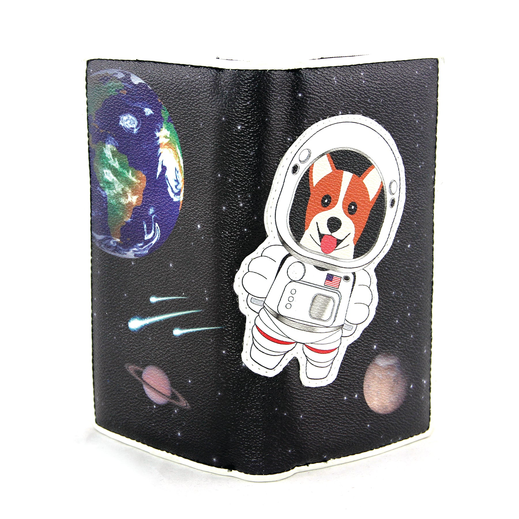 Corgi Astronaut in Space Wallet in Vinyl Material frontal view