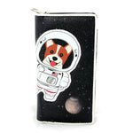 Corgi Astronaut in Space Wallet in Vinyl Material front view