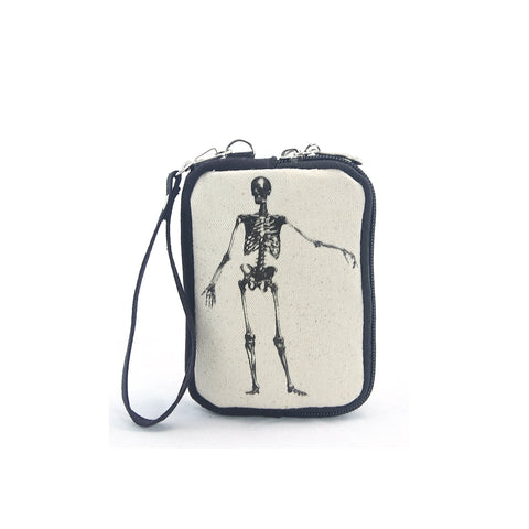 Vinage Print Skeletong Wristlet in Canvas Material front view