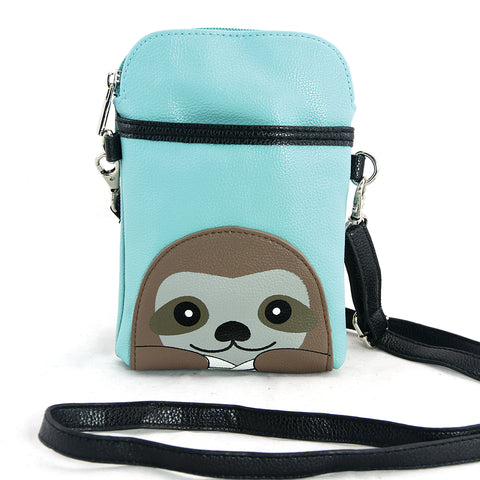 Sloth Small Puch Shoulder Bag in Vinyl Material front view