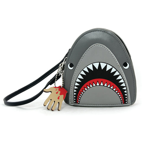 Scary Shark Wristlet with Chained Bloody Hand in Vinyl Material front view