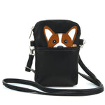 Peeking Corgi Small Shoulder Bag in Vinyl Material front view