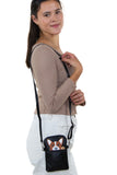 Peeking Corgi Small Shoulder Bag in Vinyl Material, shoulder bag style on model