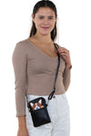 Peeking Corgi Small Shoulder Bag in Vinyl Material, crossbody style on model