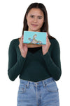 Sea Turtle Wallet in Vinyl Material, handheld by model