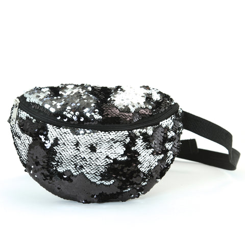 Black/Silver sequinned fanny pack
