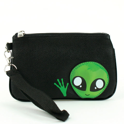 Friendly Alien Wristlet in Vinyl, green color front view