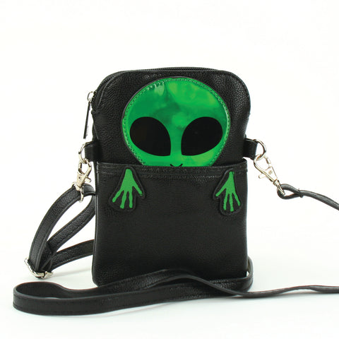 Peeking Alien Crossbody Pouch in Vinyl Material, green color front view