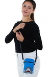 Shark Crossbody Pouch in Vinyl Material, shoulder bag style on model