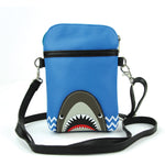 Shark Crossbody Pouch in Vinyl Material front view