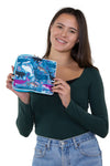 Sea of Whales Wallet/Wristlet in Nylon, handheld by model