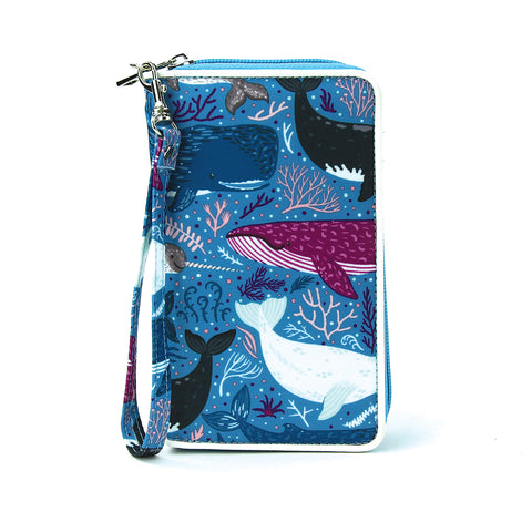 Sea of Whales Wallet/Wristlet in Nylon front view
