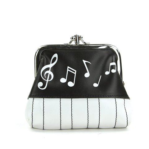 Musical Notes Coin Purse in Vinyl Material front view