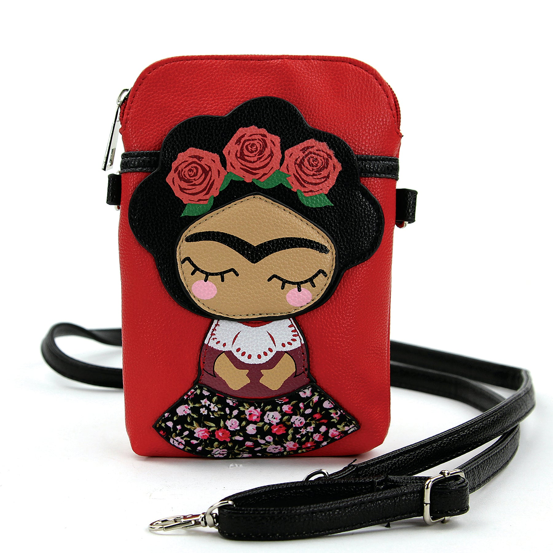 Rose Head Wreath Unibrow Girl Crossbody Pouch in Vinyl front view