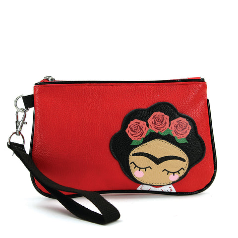 Rose Hair Unibrow Girl Wristlet in Vinyl front view