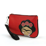 Rose Hair Unibrow Girl Wristlet in Vinyl side view