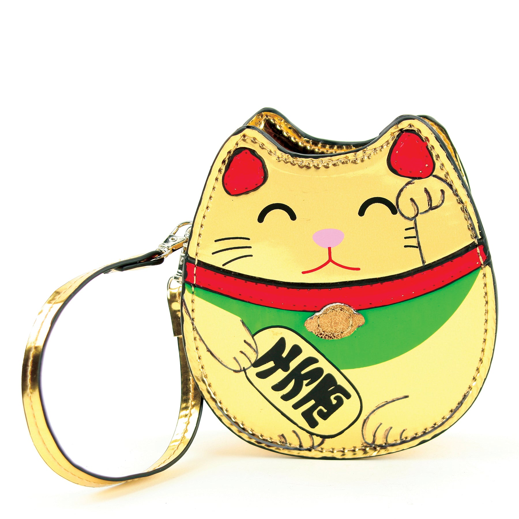 Golden Lucky Cat Wristlet in Vinyl Material front view