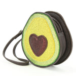 Glittery Avocado Wristlet in Vinyl Material side view