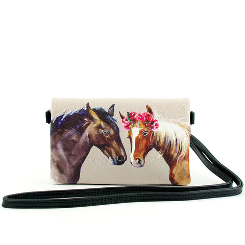 Horses Convertible Wallet Clutch in Vinyl Material front view