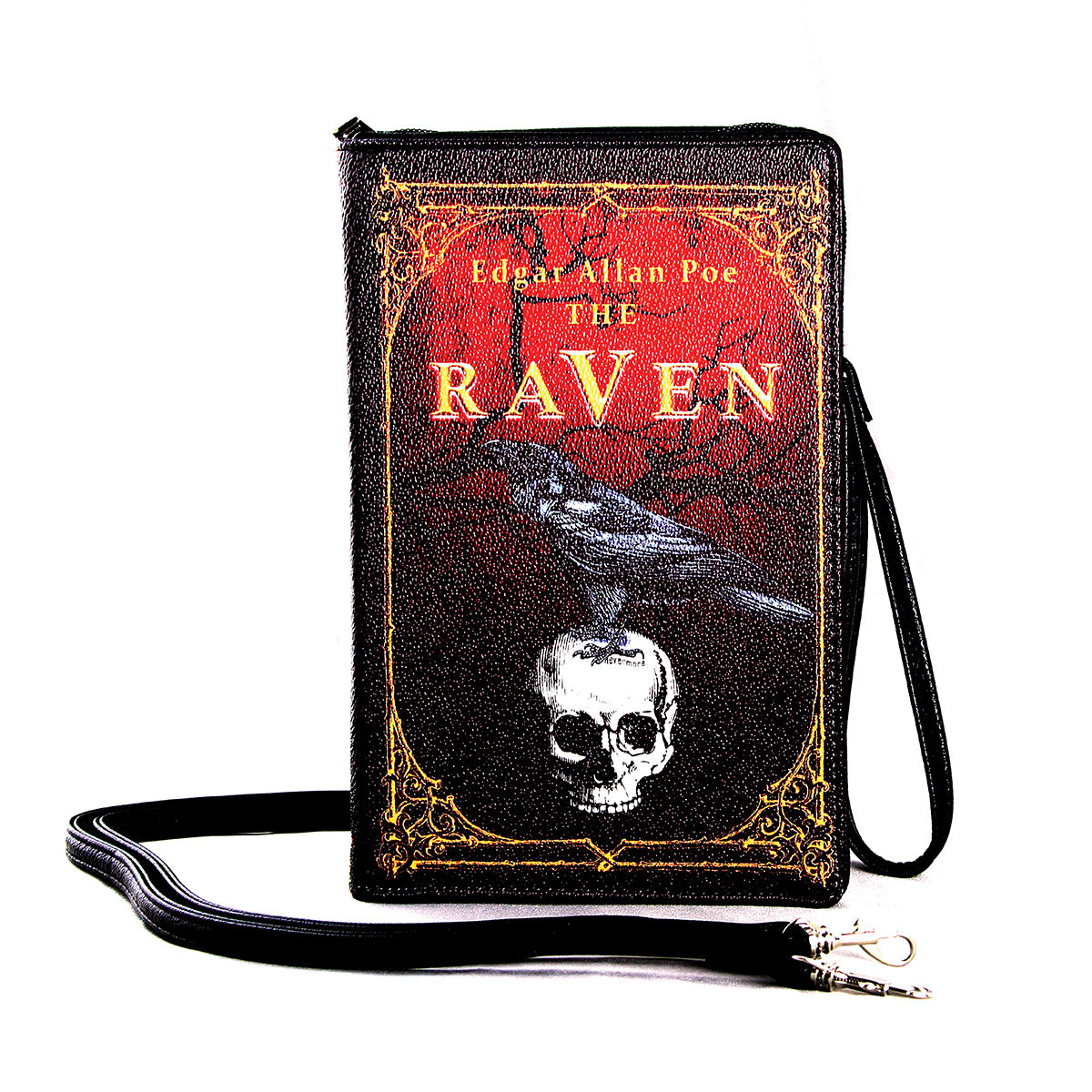 The Raven Vintage Book Clutch Bag in Vinyl, front view