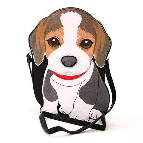 Sleepyville Critters - Beagle Cross Body Bag in Vinyl Material front view