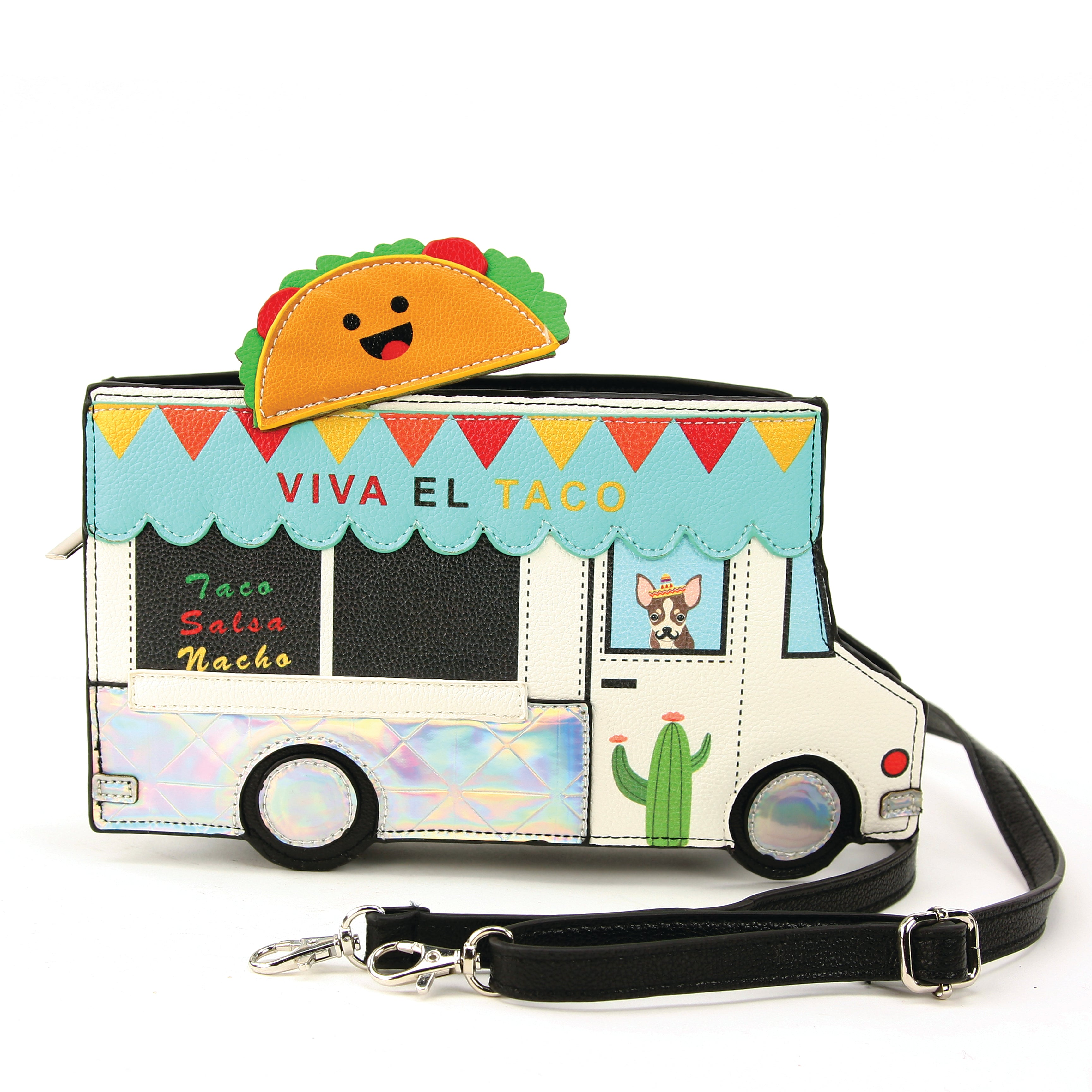 Taco Truck Cross Body Bag in Vinyl Material front view