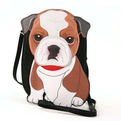 Sleepyville Critters - Bulldog Cross Body Bag in Vinyl Material front view