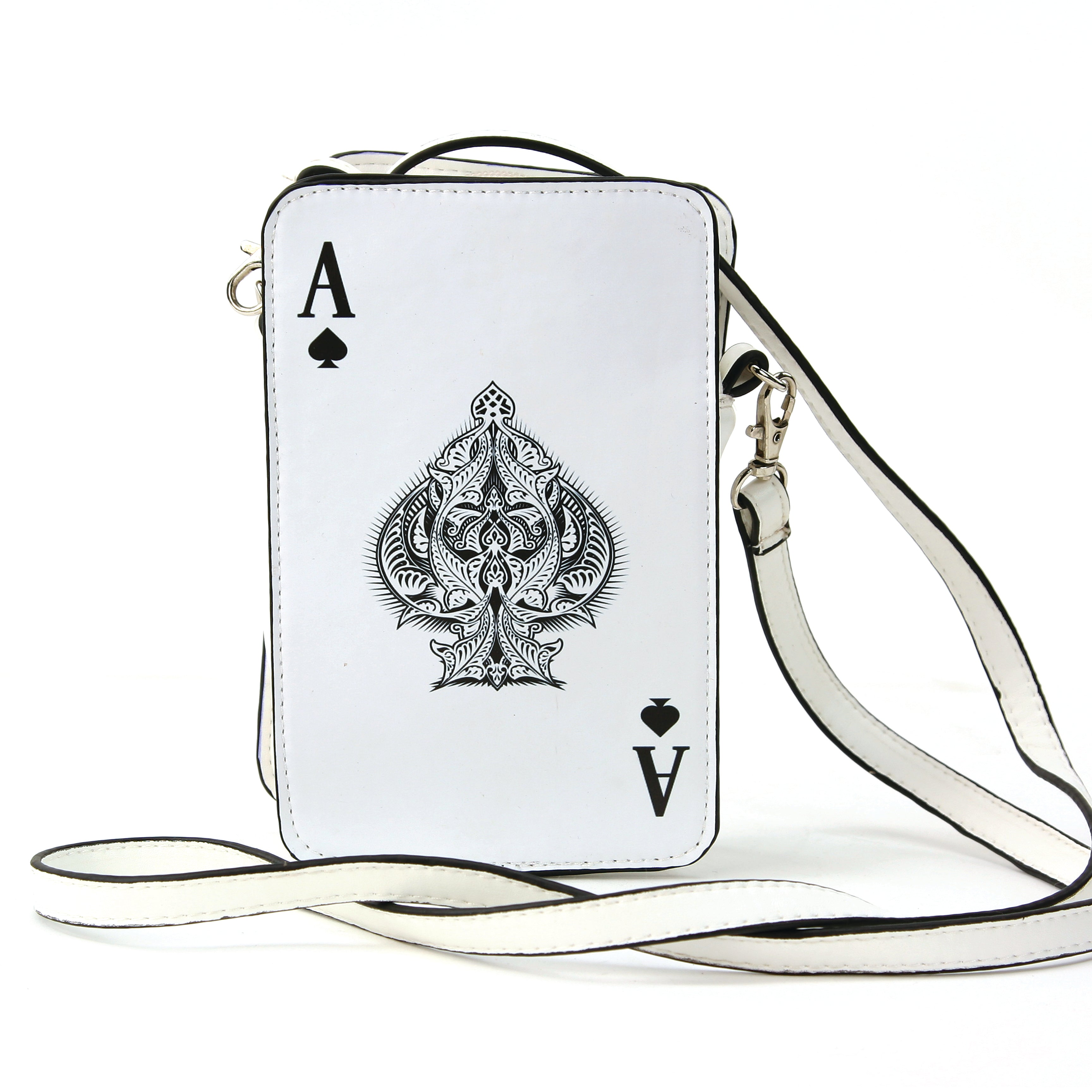 Ace of Spade Cross Body Bag in Vinyl MaterialAce of Spade Cross Body Bag in Vinyl Material, ace of spades front view