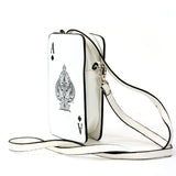 Ace of Spade Cross Body Bag in Vinyl Material side view
