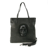 Skull Studded Tote Bag in Vinyl Material front view