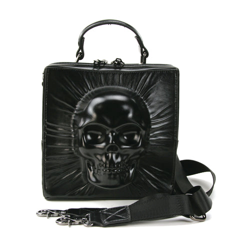 Skull Encased in Square Handheld Bag in Vinyl Material front view