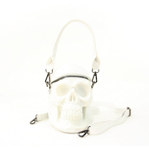 White Skull Handheld Style Full Sized Bag in Vinyl Material front view