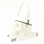 White Skull Handheld Style Full Sized Bag in Vinyl Material side view