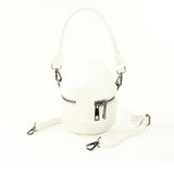 White Skull Handheld Style Full Sized Bag in Vinyl Material back view