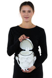 White Skull Handheld Style Full Sized Bag in Vinyl Material, interior view on model