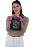 Sleepyville Critters - Call Me Vintage Phone Cross Body Bag in Vinyl Material, front view on model
