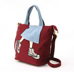 Skirt with Sneakers Tote Bag Backpack in Nylon Material, maroon color, side view
