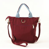 Skirt with Sneakers Tote Bag Backpack in Nylon Material, maroon color, back view