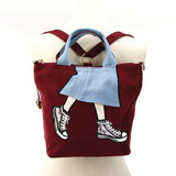 Skirt with Sneakers Tote Bag Backpack in Nylon Material, maroon color, on mannequin front view