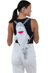 Sleepyville Critters - Shark Mini Backpack, backpack style, back view on model