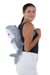 Sleepyville Critters - Shark Mini Backpack, backpack style, side view on model