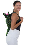 Sleepyville Critters - Alligator Mini Backpack, backpack style, side view on model