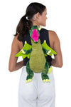 Sleepyville Critters - Dragon Mini Backpack, backpack style, back view on model