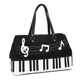 Piano and Music Key Notes Canvas with Leatherette Trim Doctor's Satchel (Black) front view