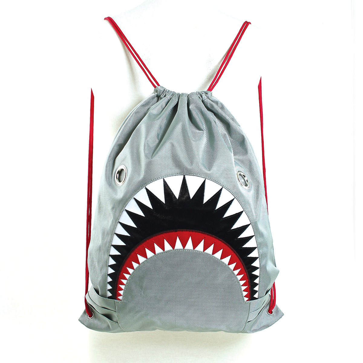 Unisex Water Resistant Nylon Shark Bite Jaws Drawstring Knap Sack Back Pack (Grey) front view