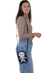 Premium Vinyl Skeleton Should Bag in Vinyl Material, shoulder bag style on model