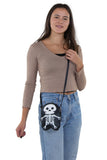Premium Vinyl Skeleton Should Bag in Vinyl Material, crossbody style on model