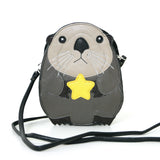 Sleepyville Critters Baby Beaver Holding a Star Shoulder Crossbody Bag in Vinyl Material front view