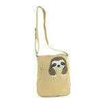 Peeking Sloth Canvas Messenger Bag front view