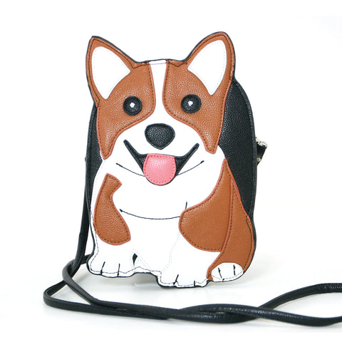Sleepyville Critters Corgi Dog Shoulder Crossbody Bag in Vinyl Material front view
